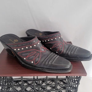 COLE HAAN cowboy booties black leather studded 8.5